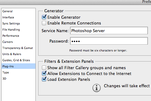 A screenshot of how to enable Photoshop Generator to save web graphics automatically