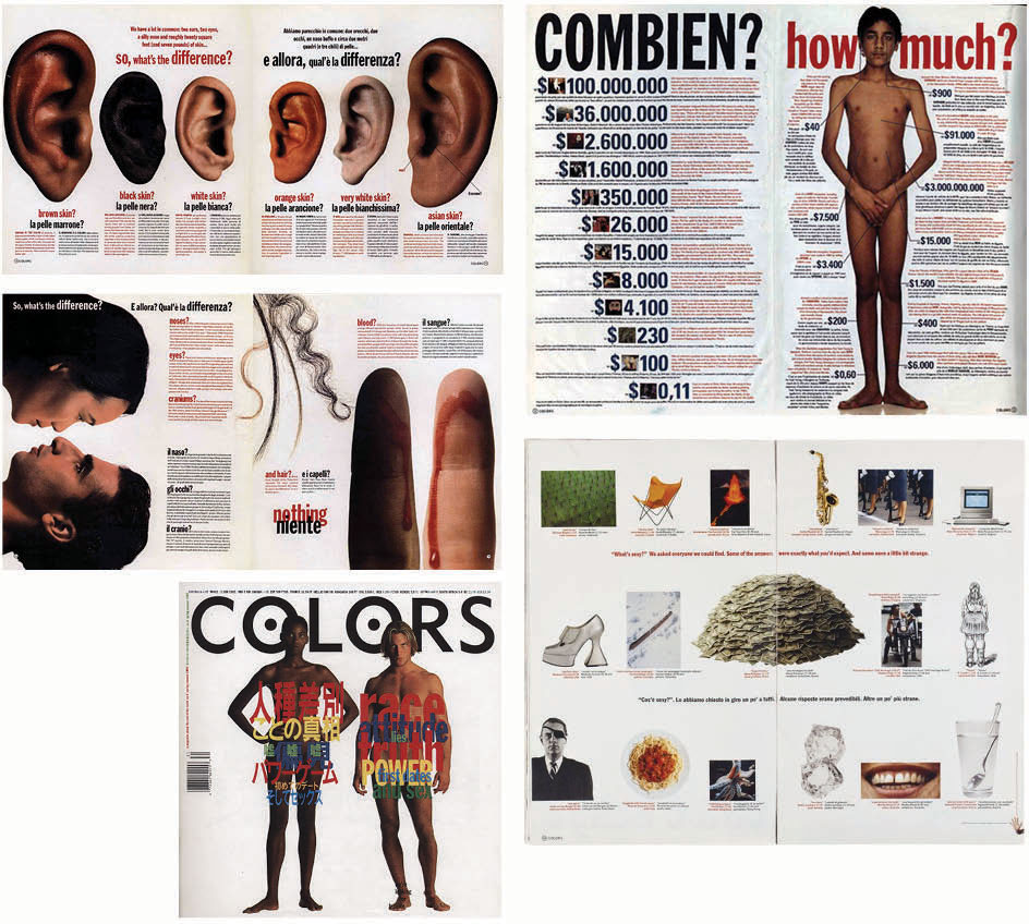 Design spread for Colors magazine uses contrast to convey meaning.  Design by Tibor Kalman.