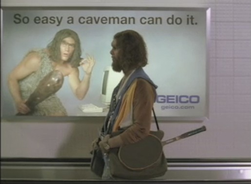 Still image from one of a series of Geico Caveman Commercials