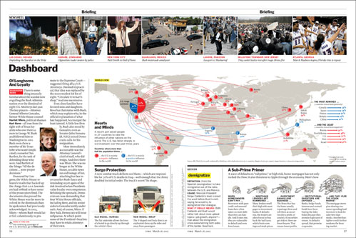 Example using an analytical approach in a layout design for Time magazine