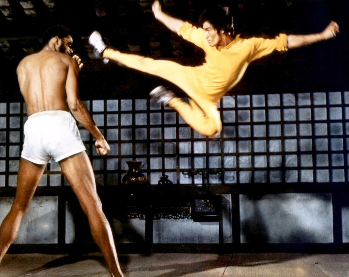Bruce Lee and Kareem Abdul-Jabbar in the film Game of Death.