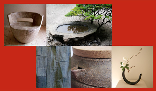Common wabi design elements such as wood, stone, fabric, clay, and flowers.